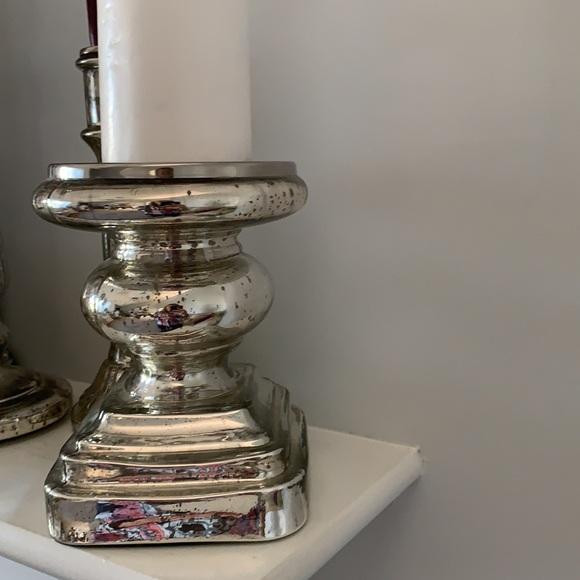 Pottery Barn Mercury Glass Pillar Candle Holder